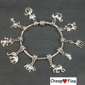 Tibetan Silver mixed animal Charm dangle bead Bracelet