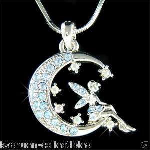 Blue Fairy Crystal ~Tinkerbell ANGEL Wing MOON Necklace