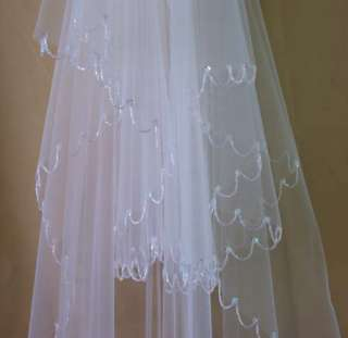Beaded White/Ivory Wedding Bridal Dress Tiara Veil with comb