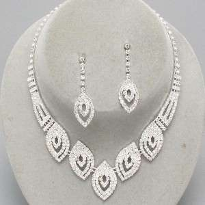 Prom Bridal Evening Clear Crystal Elegant Costume Jewelry Necklace Set
