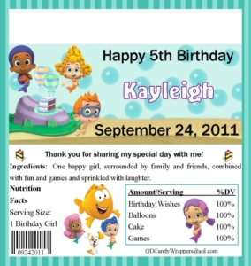 Bubble Guppies Candy Wrappers/Birthday Party Supplies