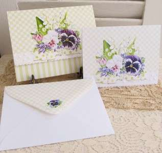 Carol Wilson PANSY & CHEQUES Boxed Set Note Cards 10ct 095372022873