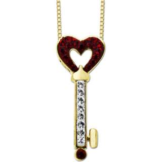 Luminesse 18kt Gold Plated White and Red Crystal Heart Key Pendant, 18