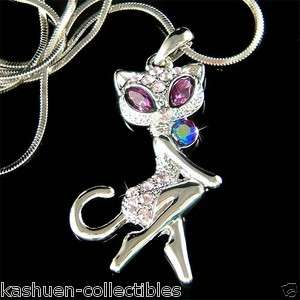Crystal Sexy Cute KITTY CAT Kitten Charm Pendant Necklace New