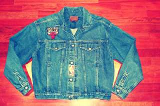 VTG CHicago Bulls Blue Jean Jacket Crewneck Sweater Sweat Shirt JOrdan