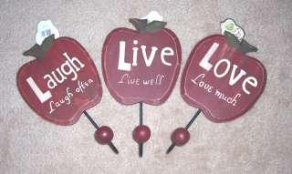 Laugh   Live   Love Apple Shaped Coat Hooks