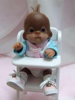 OOAK Baby Orangutan Monkey Sculpted Polymer Clay Art Doll Collectible