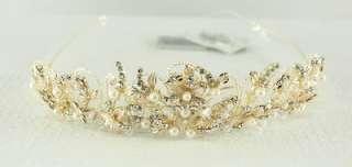 Davids Bridal Wedding Gold Pearl & Crystal Jeweled Tiarra Never Worn