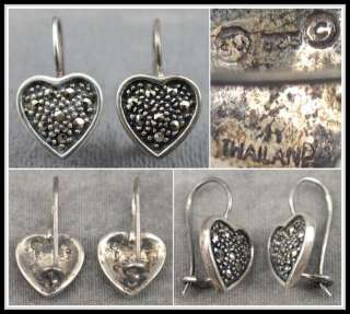 VTG STERLING SILVER .925 MARCASITE HEART ON FRENCH WIRE EARRINGS
