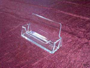 Clear plastic business card display stand holders