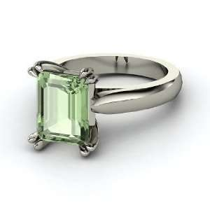 Ring, Emerald Cut Green Amethyst 14K White Gold Ring Jewelry