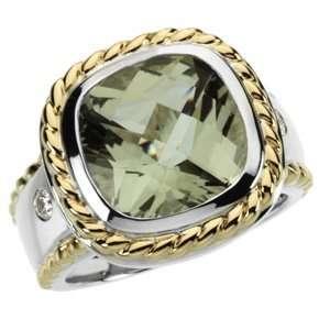 Checkerboard Green Quartz & Diamond Ring Diamond Designs Jewelry
