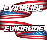 Evinrude Outboards Motor E TEC US Flag Decals Set Kit