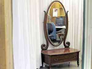 Antique Mahogany Princess Dresser w Full Length Mirror