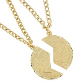 Mizpah Coin Pendant Necklace Best Friends Genesis Fancy Cut Gold Tone