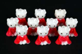 PLASTIC HELLO KITTY 10 Lot Charm Toy Craft Party Favor