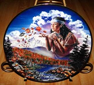 AUTUMN WINDS David Penfound INDIAN MAIDEN Franklin Mint Plate