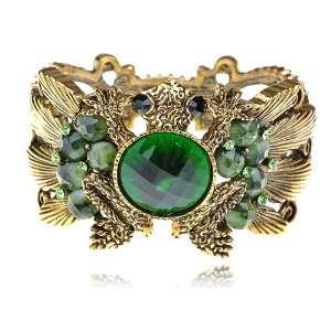 Tone Emerald Green Crystal Rhinestone Frog Toad Bracelet Bangle Cuff