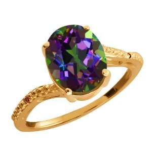 Green Mystic Quartz and Cognac Red Diamond 18k Rose Gold Ring Jewelry
