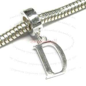 Sterling Silver Initial Letter D European Bead Charm