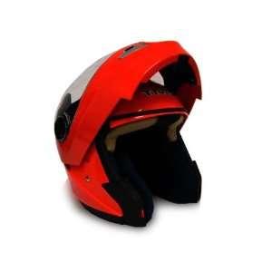 Red Dual Visor Modular Motorcycle Flip Up Helmet DOT