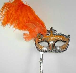 ORANGE MASQUERADE Stick Venetian Mask Costume ORANGE & SILVER Hand
