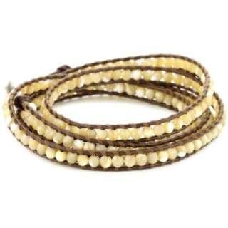 Chan Luu Mother Of Pearl Leather Wrap Bracelet   designer shoes