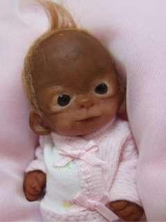 OOAK Baby Orangutan Monkey Girl Sculpted Polymer Clay Art Doll