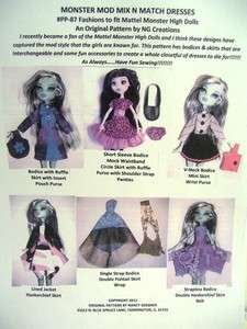 Monster High Doll Clothing Pattern Sew Outfits Mix N Match