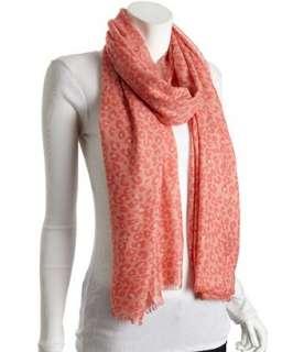 Kashmere coral leopard printed cashmere silk scarf
