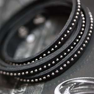 4 Layer Stud Leather Bracelet   Black/Silver Everything