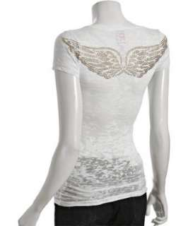 vil white burnout jersey Gold Angel Wings t shirt   up to