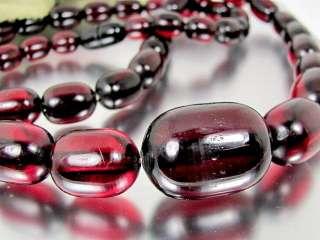 Vintage CHERRY AMBER BAKELITE Necklace Chunky 98 Grams