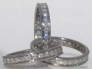 18K WHITE GOLD DIAMOND ROLLING TRINITY RING BAND SIZE 52 6