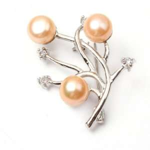 Pink Freshwater Pearl White Gold Plated Brooch Pin 30X35mm