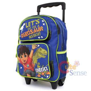 Go Diego Go School Rolling Backpack Roller Bag 12 with Dinosaur