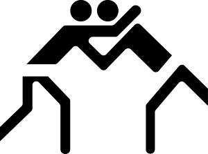 Stick Figure Wrestling Logo Decal Sticker