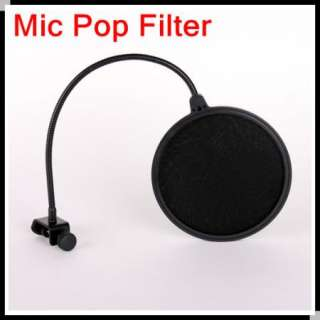 Studio Microphone Mic Wind Screen Pop Filter Mask Shied Black