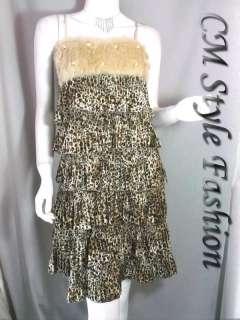 Faux Fur Beaded Animal Leopard Print Dress Brown XS