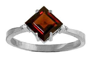 Natural Red Garnet Gem & Diamonds Ring 14K White Gold sz 7 Sizeable