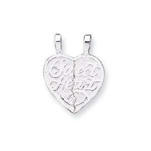 Sterling Silver Sweet Heart 2 piece break Apart Heart Charm
