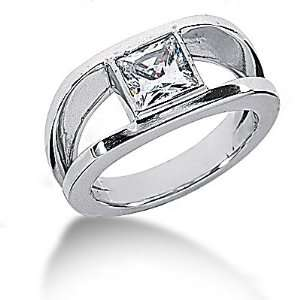 75 Ct. Diamond solitaire ring princess cut gold ring